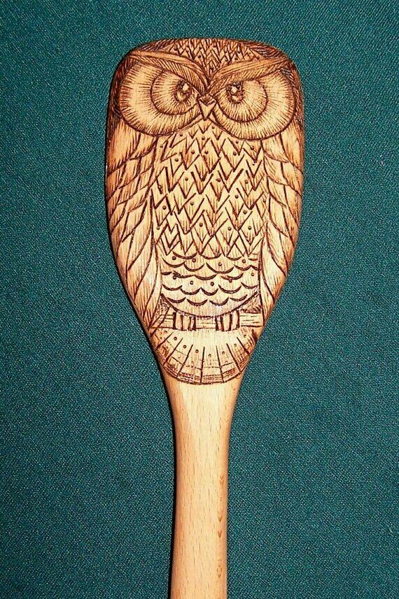 Wooden owl spoon 1 of 2