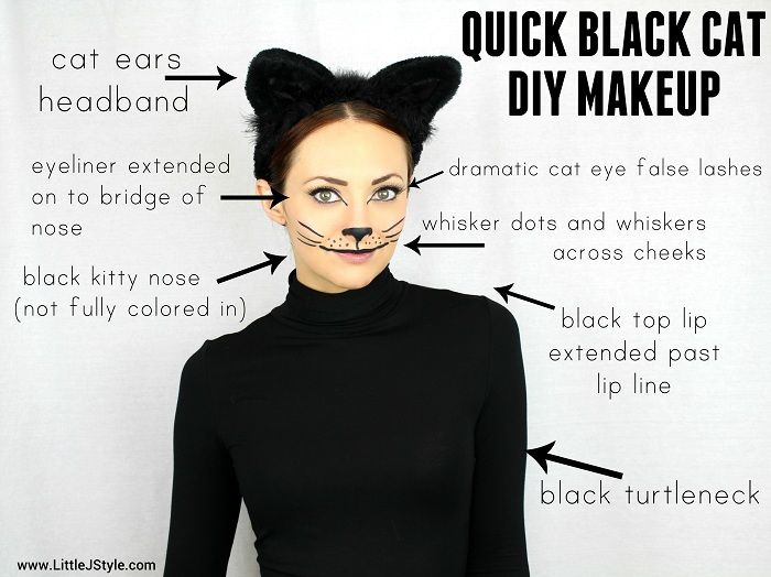 Black Cat DIY Halloween Makeup, so quick and easy! | www.LittleJStyle.com