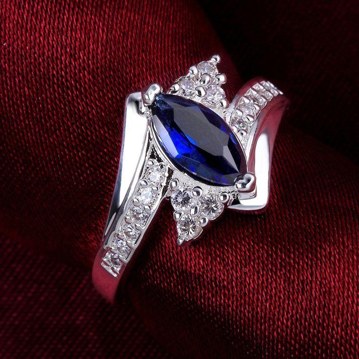 SunIfSnow Girls Oval Sapphire Blue Zircon Simple Ring: Jewelry:
