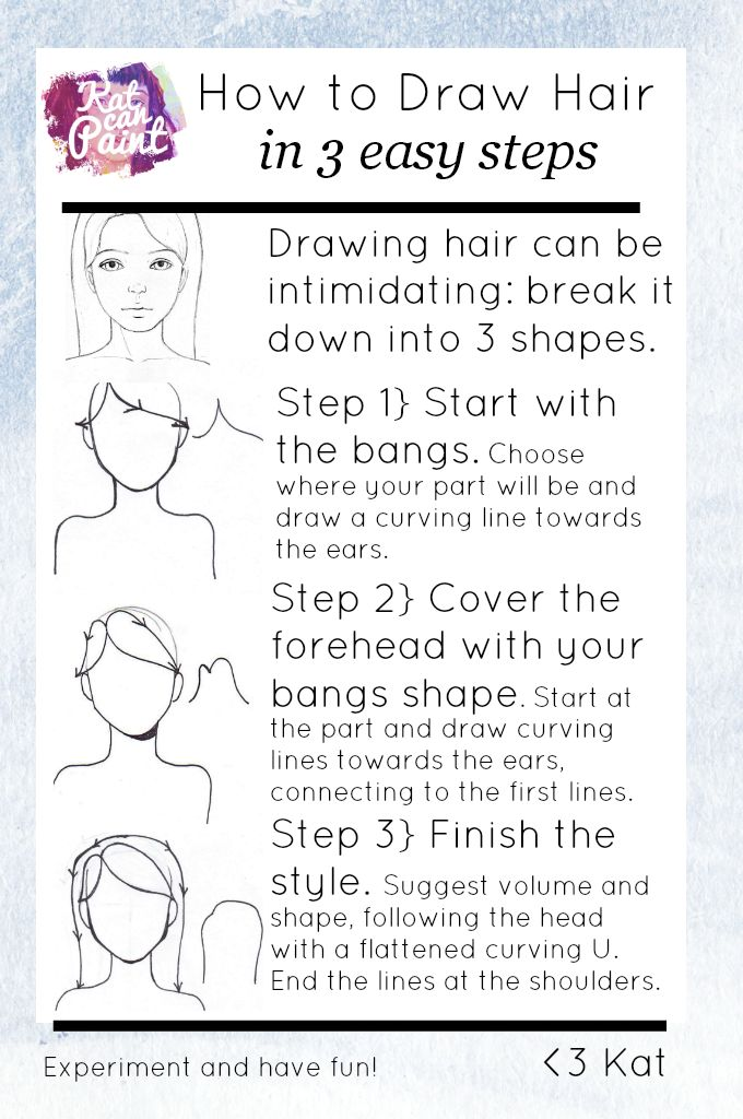 How to draw hair in 3 easy steps