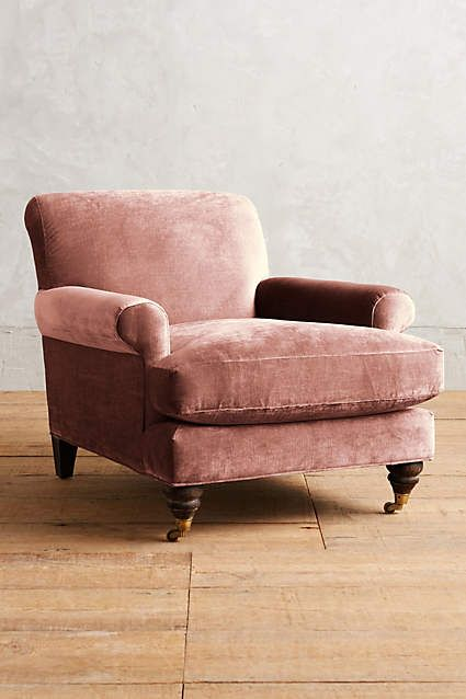 Upholstered pink velvet armchair. WANTED. LK. #PinkChair