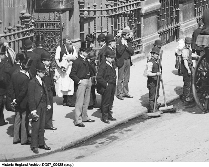 DD97/00438 (crop) Street sweepers cropped from a busy street view of Mansion House Street with the Royal Exchange in the background and congested horse-drawn vehicles, including omnibuses, in the foreground. Buses were run by the London General Omnibus Company until 1933. Place:Mansion House Street, London, EC2.  Date: 1870 - 1900 Photographer: York and Son