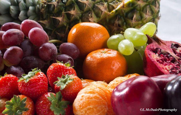 Still life studio set-up of mixed fruit
