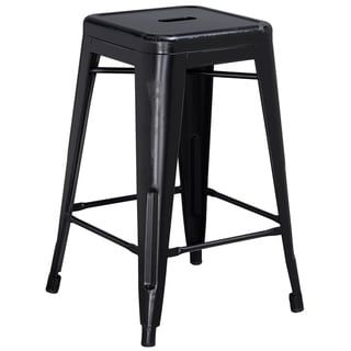 Carbon Loft Walton 24-inch High Backless Distressed Metal Indoor Counter Height Stool (Silver Gray)