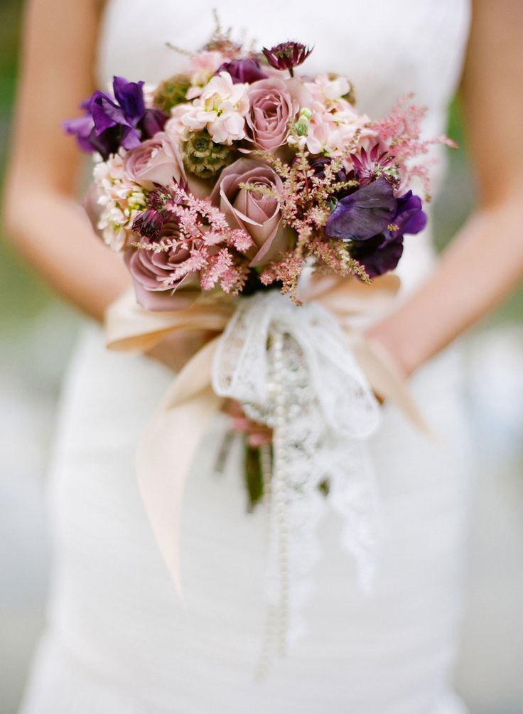 Romantic pink and purple wedding bouquet