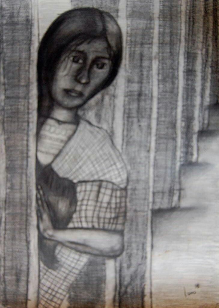 La espera. Carboncillo  y lápiz sobre papel. 70x50cms. 2014. Jesús Martínez.