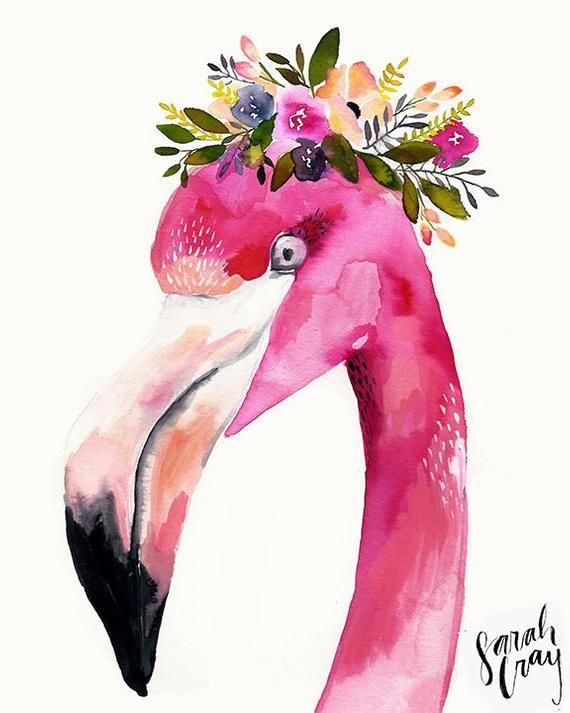 Flamant Rose Avec Impression De Couronne Florale Art Sur Le
