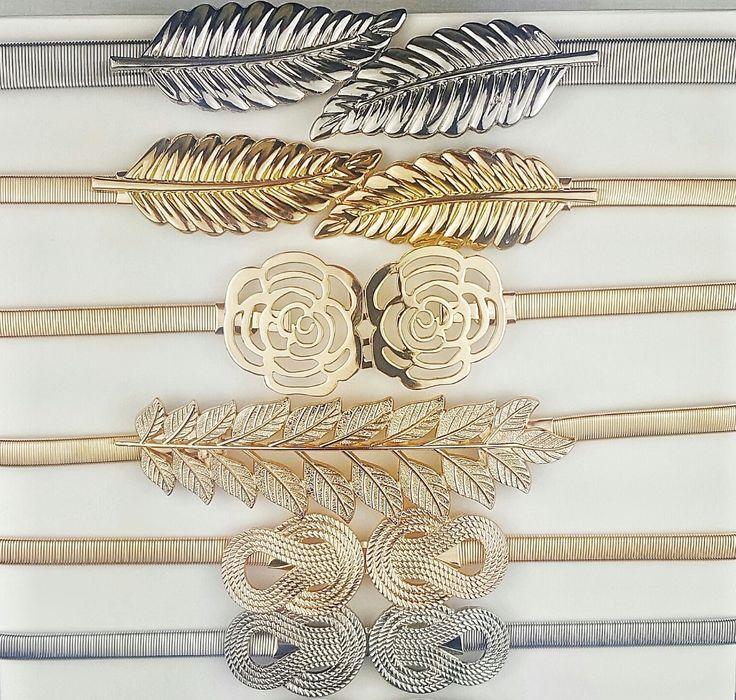 Cinturones metalizados con cintura elástica para vestidos de fiesta. Distintas hebillas