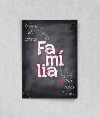 Poster Quadro Negro com a palavra Família feito pela Sabrina Matias para a Top Quadros