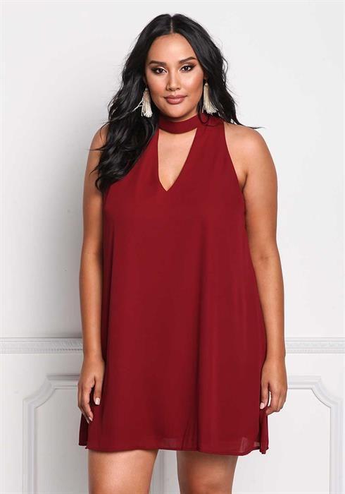 $29.00---3X---WINE--- Cut Out Choker Shift Dress
