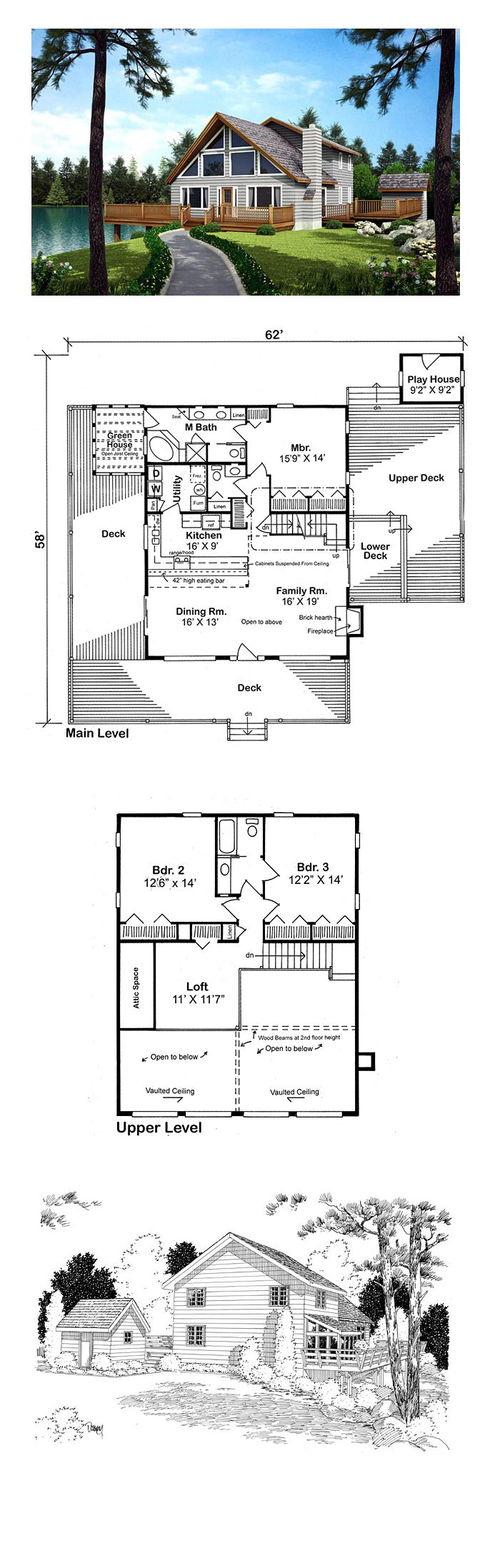 16 best cabin house plans images on pinterest cabin for Cool houseplans com
