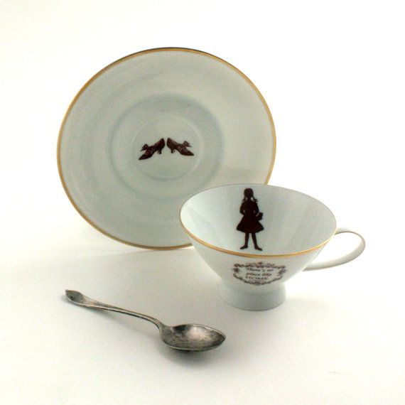 Altered  Wizard of Oz Vintage Tea or Coffee Cup There is no Place Like Home Saucer Shoes Porcelain Gold Trim White Brown Romantic
