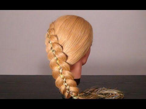 Коса из 5 прядей с шарфом. 5-Strand Braid with Scarf Hairstyle For Long Hair - YouTube