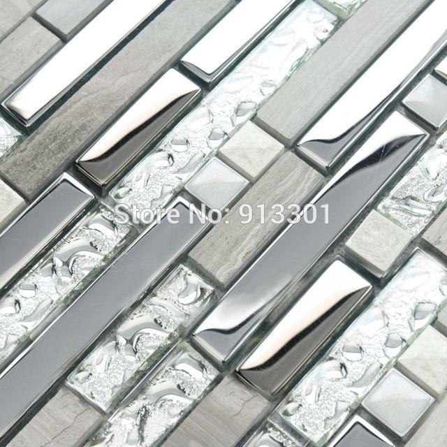 Azulejos da cozinha backsplash de vidro e de metal de aço inoxidável barato piso de pedra projeto 9831 3d azulejos do banheiro da telha adesivos de parede