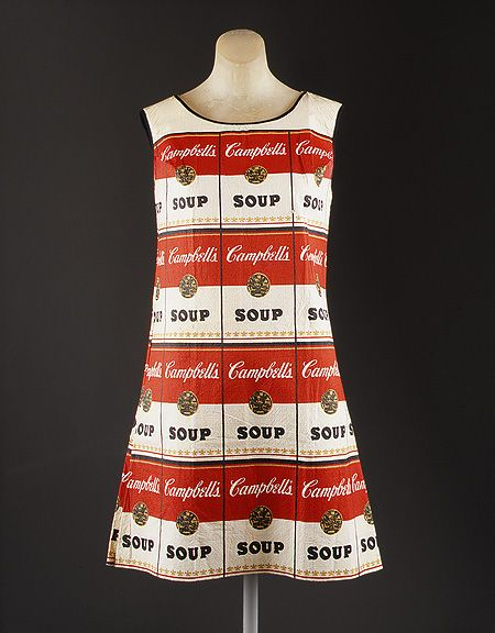 Dress, ca. 1966–67  American  Paper printed with allover pattern of Campbell Soup cans in black, red, and gold