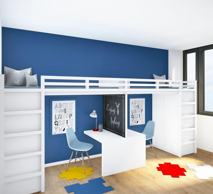 Wenn zwei Kinder sich ein Zimmer teilen sollen, darf sich niemand benachteiligt fühlen. Dieser Entwurf bietet für beide Kids identisch viel Platz und Stauraum. Der kann dann nach Belieben individualisiert werden.   Kinderzimmer | Hochbett | Stauraum | Schreibtisch | Tafel | KOITKA