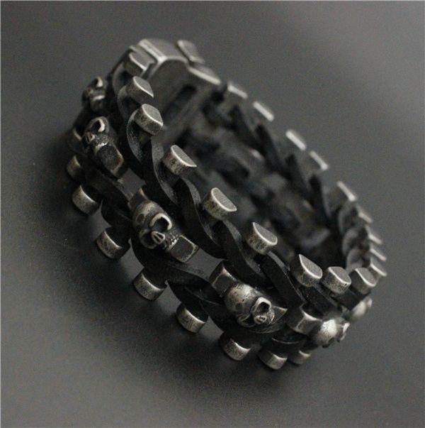 Iron Leather Buckle Skull Biker Bracelet //Price: $33.69 & FREE Shipping //     #skull #skullinspiration #skullobsession #skulls