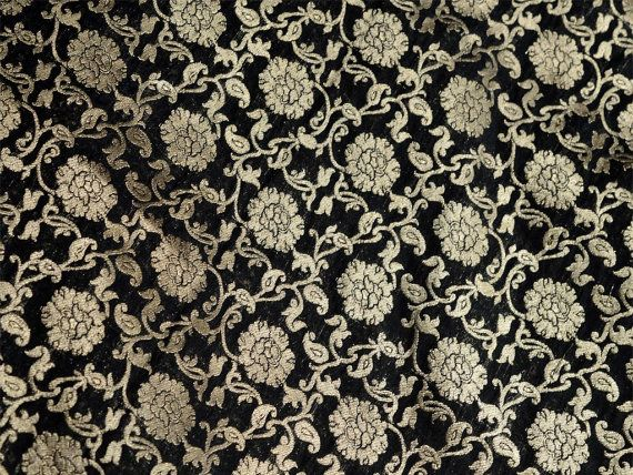 Pure Silk Brocade Fabric Remnant in Black and Gold - Gold Banaras Silk Fabric Remnant - Dress Material for Weddings by yard