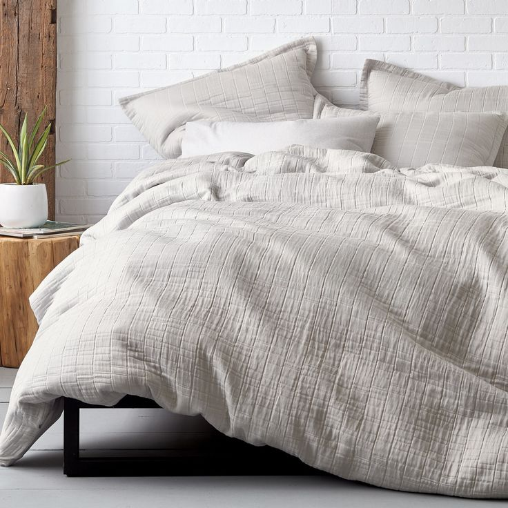 the vernon duvet cover is a relaxed and casual layer by its rumpled texture