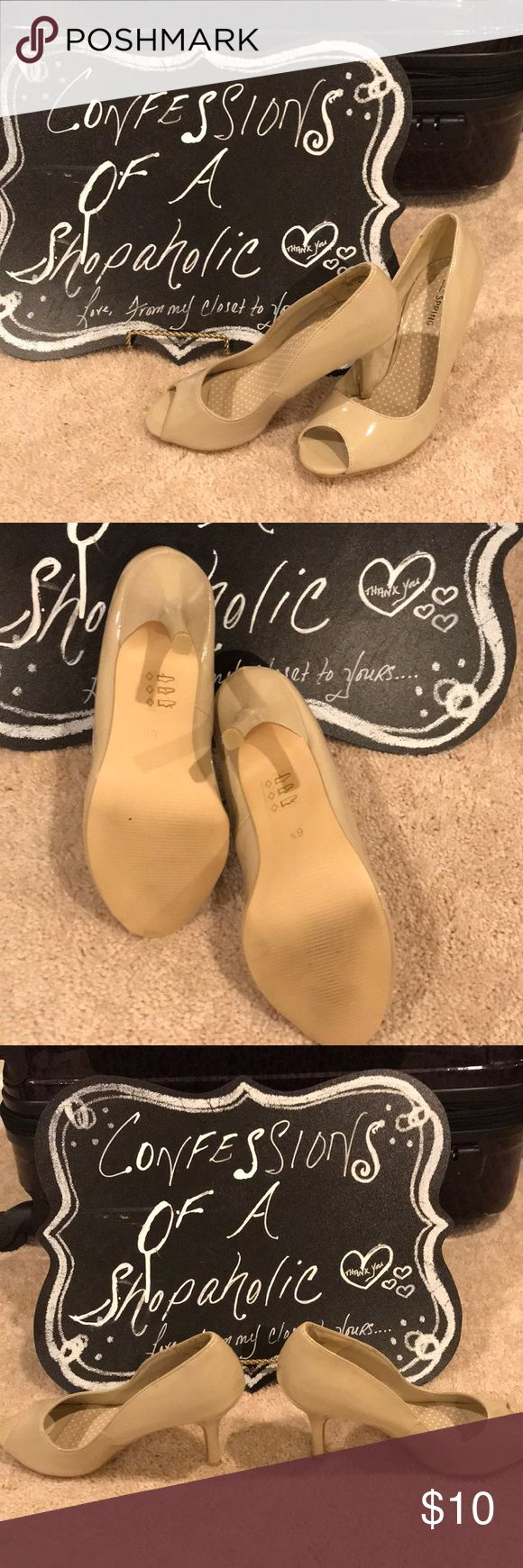 Nude peep toe pumps! Let's face it, spring and summer is around the corner and that means celebration season(weddings, graduations, etc.) why spend a ton on shoes for one occasion! Worn once nude peep toe pumps! Shoes Heels