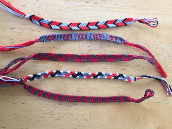 Handmade string bracelets! Pack of 5 scarlet and grey friendship bracelets, including one with a Block O! Great for gifts for your favorite Ohio