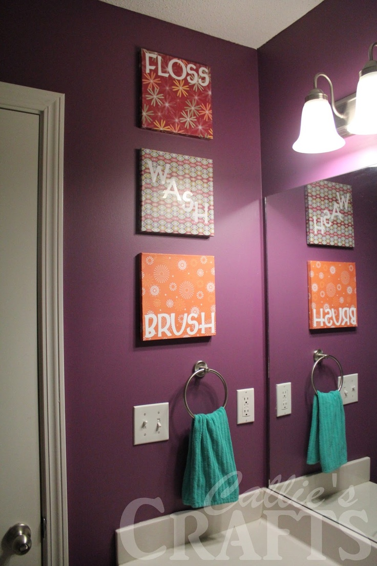 How to make this Bathroom Art--LOVE the color of the walls too