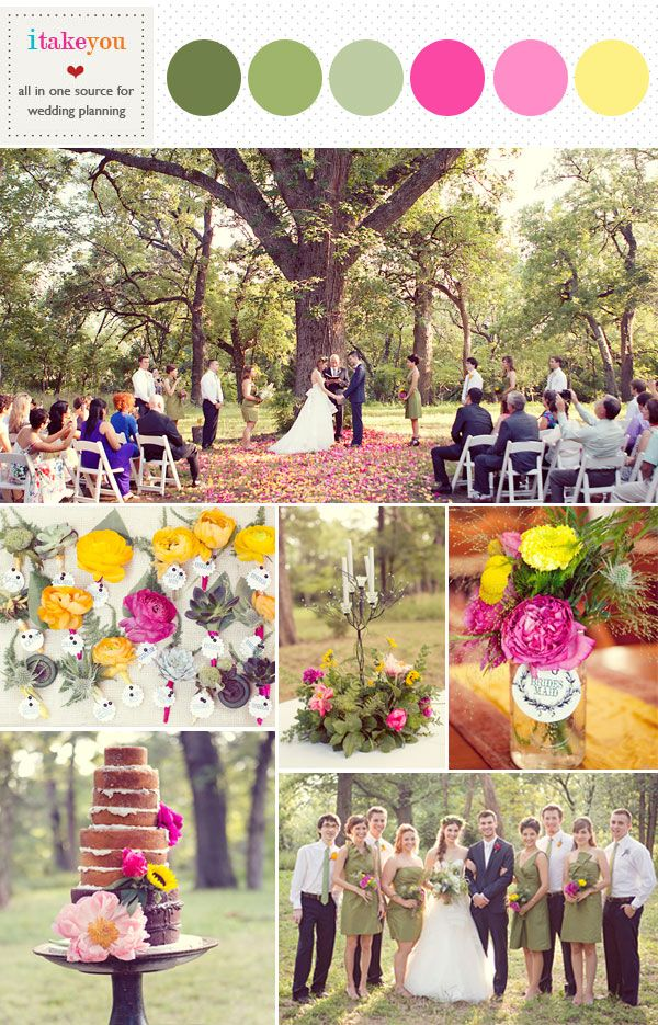 Green pink yellow wedding colors palette, Rustic wedding