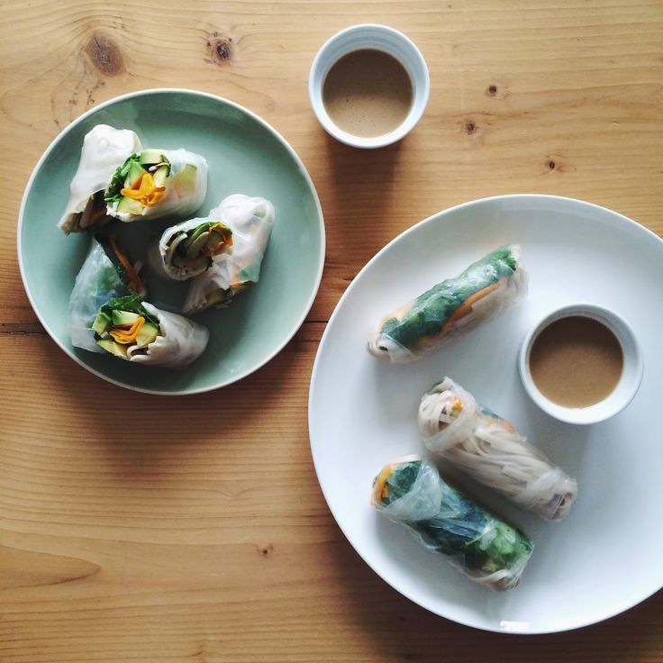 ROASTED SUMMER SQUASH & SOBA NOODLE SUMMER ROLLS WITH ALMOND-SESAME-DIP | by that's food darling