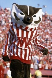 University of Wisconsin Bucky the Badger. Here at a football game sporting his classic W sweater.