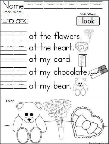 This is a Kindergarten writing activity available FREE on Madebyteachers.com for the high frequency word Look.  Students read, trace, and write the word, then color the picture.