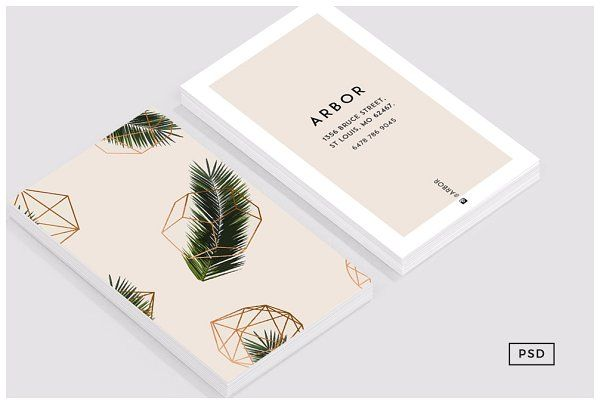 Palm Geometry Business Card In 2020 Business Card Graphic Business Card Design Business Card Template