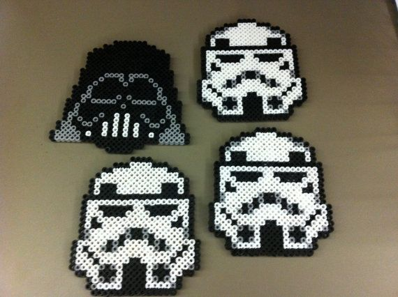 Star Wars Perler Bead Coaster Set via Etsy