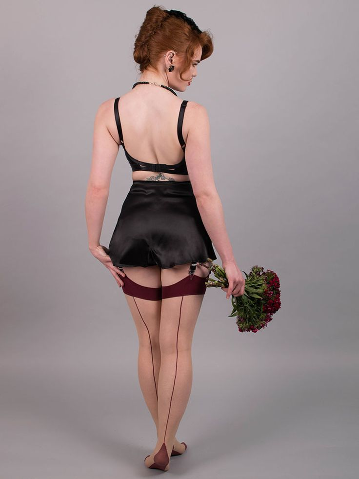 What Katie Did - Maroon Glamour Seamed Stockings H2037 ...