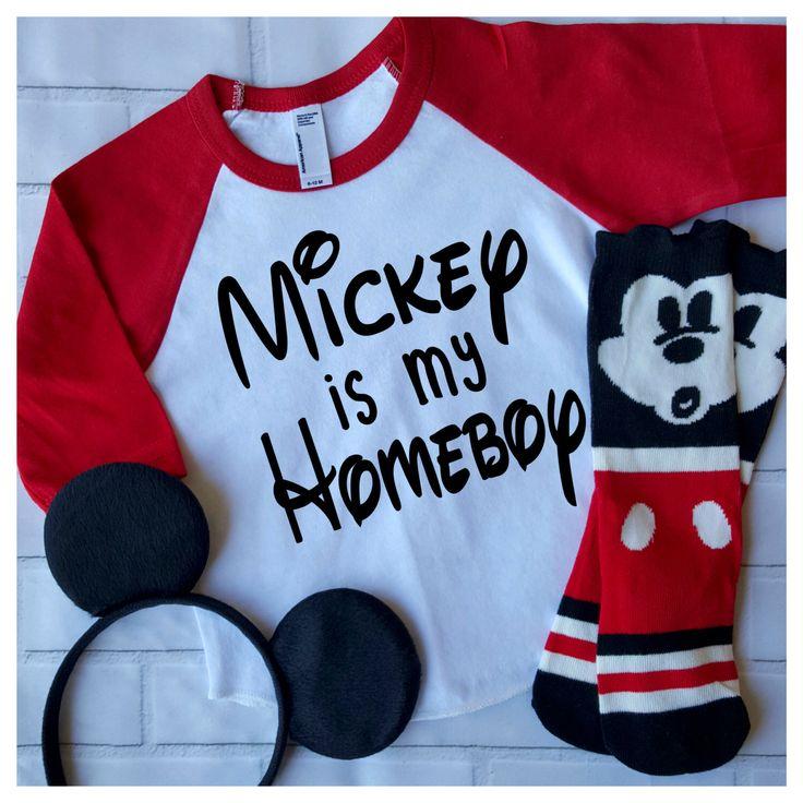 Mickey is my Homeboy Mickey Mouse Disney World Disneyland First Trip to Disney Custom Baseball Shirt Birthday Spring Break Summer Vacation by CocoCallies on Etsy https://www.etsy.com/listing/272752722/mickey-is-my-homeboy-mickey-mouse-disney
