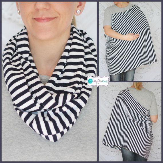 Navy and White Stripes Hold Me Close Nursing Scarf , Nursing Cover, Infinity Scarf, Infinity Nursing Scarf