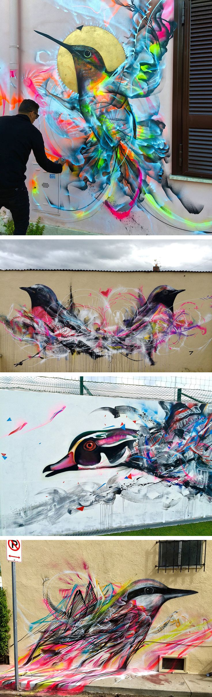 Wall art graffiti - Street Art Can Be So Fascinating Figures Of Birds Emerge From A Kinetic Flurry Of Spray Paint