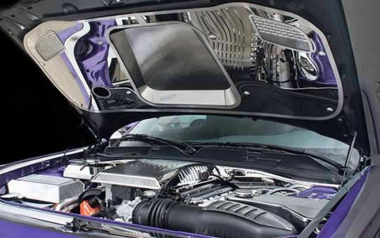 Challenger Hellcat Polished or Brushed Underhood Panel The perfect finishing show piece for your engine bay, our Polished Stainless Hood Panel will transform your Hellcat engine bay into a masterpiece. Polished with brushed center insert, it will make a big impact when it's show time.