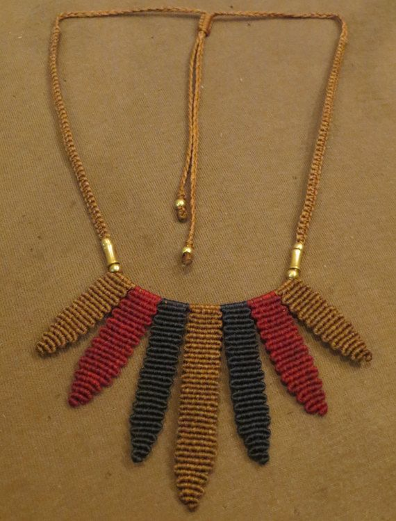 Macrame Necklace Colorful lines