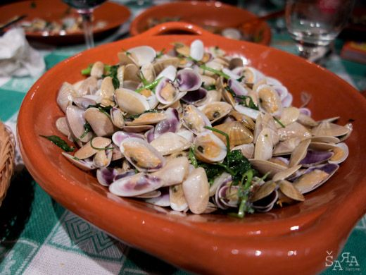 Conquilha clams, Algarve style  This delicacy is often served as snack or a meal starter and if accompanied by a glass of white or sparkling wine it tastes even better.