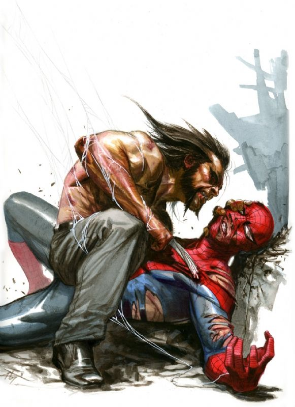 GABRIELE DELL'OTTO:SPIDER MAN VS LOGAN  #comic #art