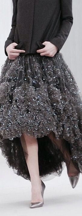 Chanel ~ Chocolate Brown Sequinned Hi-Low Skirt