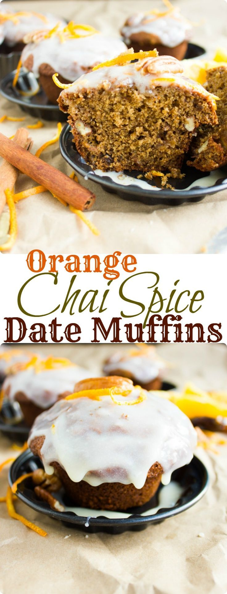 Orange Chai Spice Date Muffins. Super moist muffins, sweetened with dates and oranges, spiked with fragrant Chai spice and glazed with more orange. A pure spice, sweet and comfort type Vegan muffin you will make over and over again. www.twopurplefigs.com