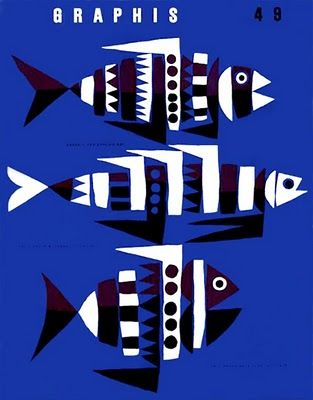 Great graphic fish designs by Hans Hartmann, Graphis 49 cover, 1953