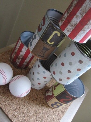 Use empty food cans for a great ball game @AshtonandParsons gross motor