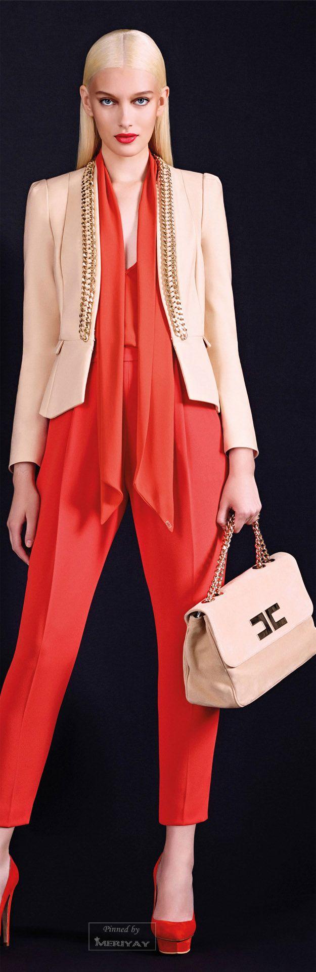 Elisabetta Franchi .FallWinter 2014-2015. / Bag / Shoes / Pants / Top / Jacket / Blazer / Hair / Character