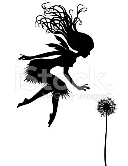 Fairy and Dandelion Silhouette royalty-free vector art illustration