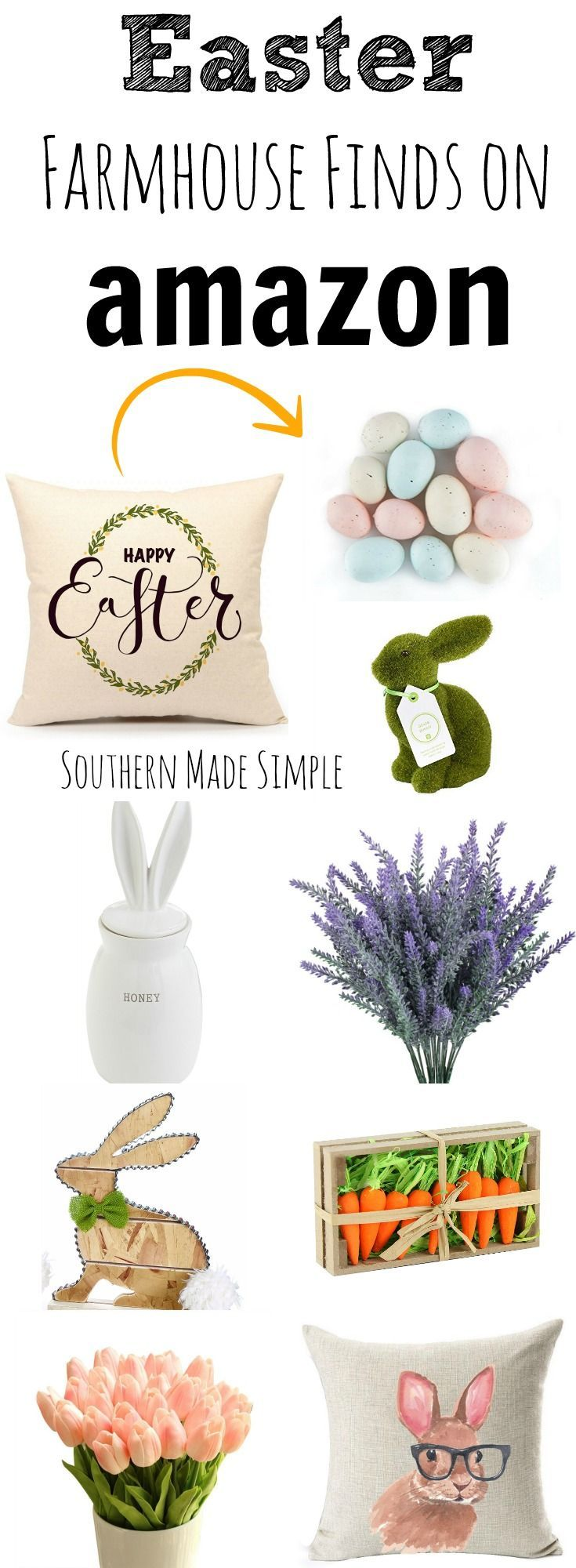 """The BEST collection of Farmhouse """"Fixer Upper"""" inspired Easter decor on Amazon! Hello, 2 day shipping!"""