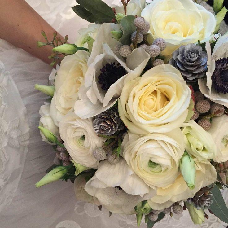 Wedding bouquet - Rosa, Anemone, Brunia, Eustoma, Ranunculus, Eucalyptus