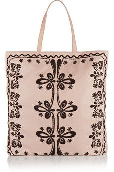 RED Valentino embroidered leather tote