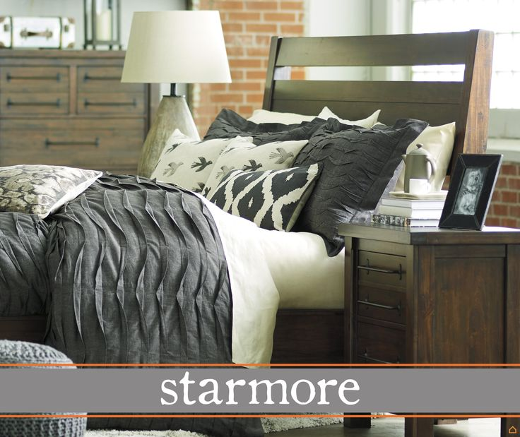 The Ashley HomeStore Starmore bedroom is the perfect mix between wood & metal. Head to your nearest store to see it in person! https://www.ashleyfurniturehomestore.com/furniture-stores